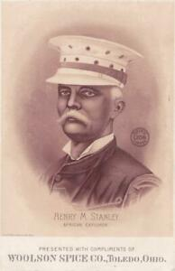Victorian Trade Card Lion Coffee HENRY M STANLEY African Explorer 6.5 x 4.25 XX