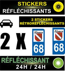 2 Stickers RÉtrorÉflÉchissants Style Auto Plaque Immatriculation DÉparmtement 68