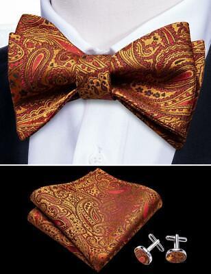 Men/'s Paisley Gold Black Tie Self Tie Bowtie Set Silk Formal Handkerchief USA