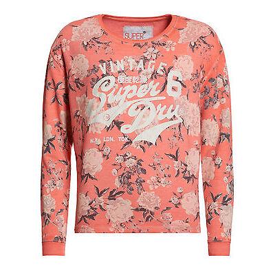 Superdry Mujer Sudadera de cuello redondo Romance Floral Coral Mono Rose