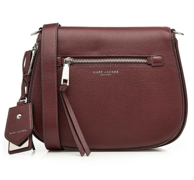 f09db417b4a Marc Jacobs LARGE Recruit NOMAD Leather Saddle Xbody Bag, Blackberry FREE  SHIPPI