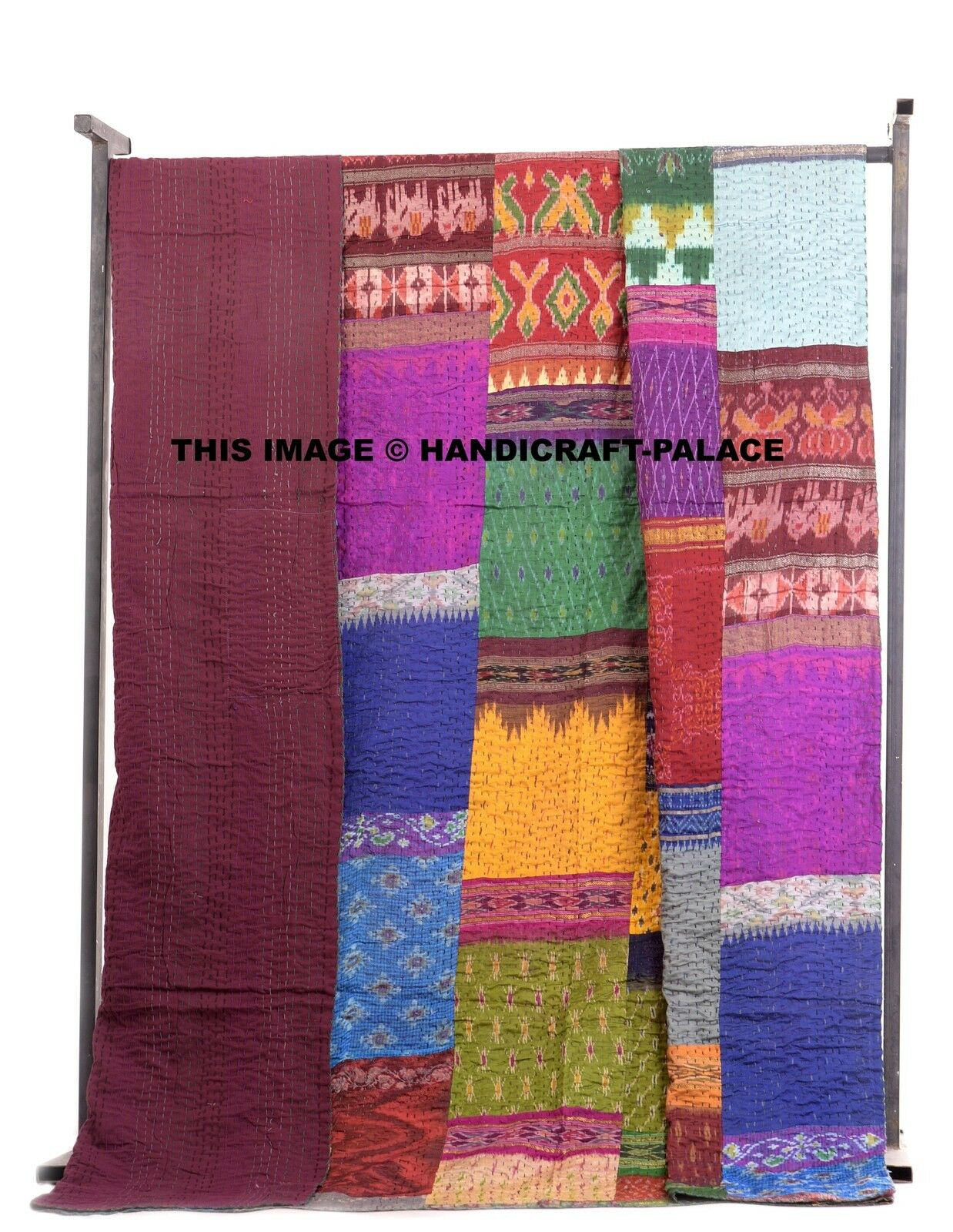 Hand Stitched Indian Silk Patch Queen Tapestry Kantha Quilt Bedspread Blanket