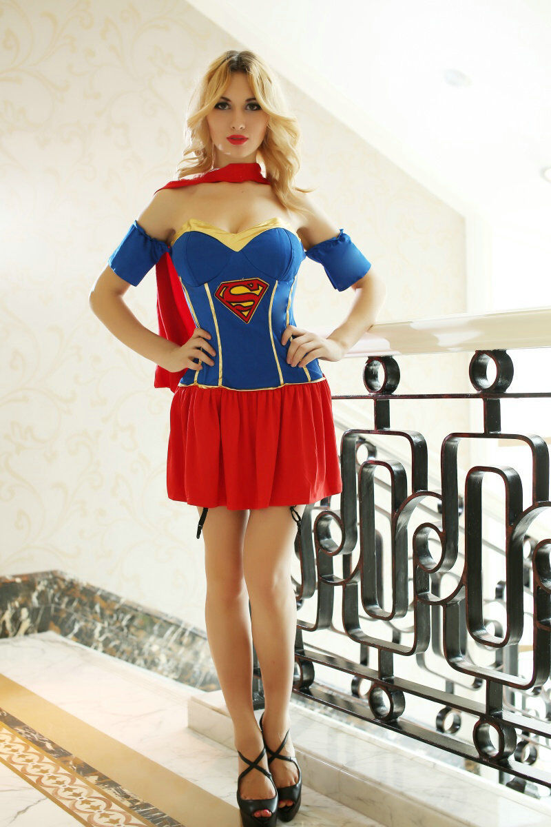 Superwoman Dress w/Cape Super Woman Outfit Suit Costume ...