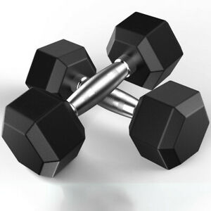 Metal Handles Heavy Dumbbells 5-50LB Barbell Set of 2 Hex Rubber Dumbbell