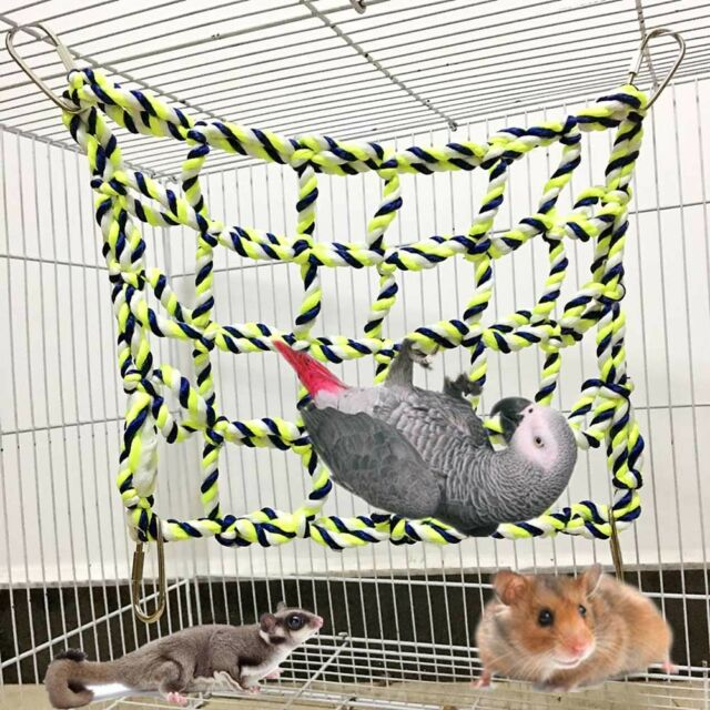 AU Pet Bird Parrot Hamster Cage Rope Ladder Net Hammock Swing Hanging Perch Toys
