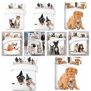 3D-Perro-Gato-amp-Diseno-Foto-Digital-cubierta-del-edredon-edredon-con-fundas-de-almohada-UK-Made