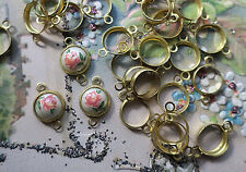 Bezel Round Connectors Vintage Brass Settings Setting 8mm Cabs Findings #100X