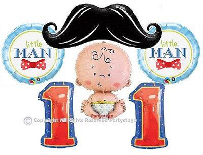 LITTLE MAN MUSTACHE 1ST BIRTHDAY PARTY BALLOONS BOUQUET SUPPLIES DECORATIONS