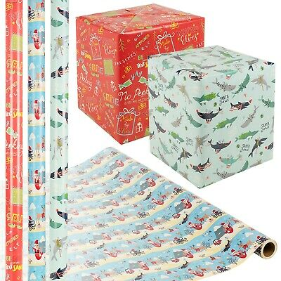 24m Christmas Gift Wrapping Paper Rolls Decorative Kid Xmas Present Holiday Wrap Ebay