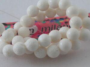 4 perle in corallo madrepora bianco  di 12 mm