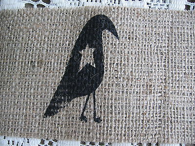 4 INCH WIDE BURLAP FABRIC RIBBON WITH CROW ~ 60 INCHES LONG ~ NEW ~ PRIM SEWING