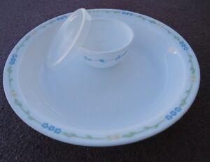 4 pc Corelle SECRET GARDEN PIE PLATE w6 oz SAUCE DIP CUP Bowl