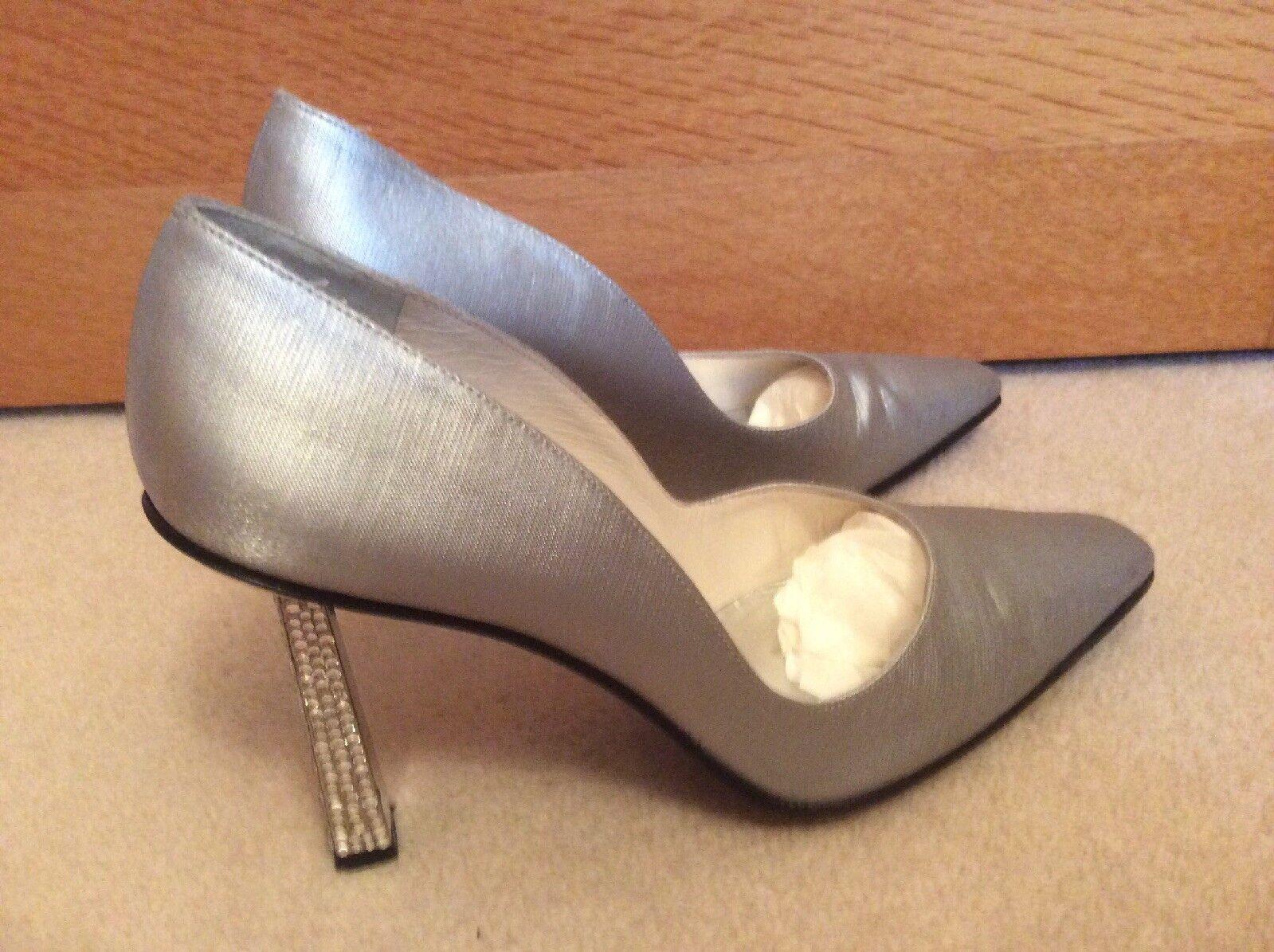 varie dimensioni Russell & Bromley in pelle e e e argento in Satin e Diamante tacco stilletto scarpe. Taglia 5  vendita scontata