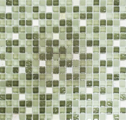 Glasmosaik Naturstein grün//grün matt Wand Bad Sauna Küche 92-0504/_f10 Matten