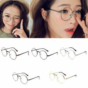 New-Women-Men-Large-Oversized-Metal-Frame-Clear-Lens-Round-Circle-Eye-Glasses