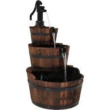 Rustic Outdoor 3-Tier Wooden Vintage Pump Wood Barrel Garden Water Fountain