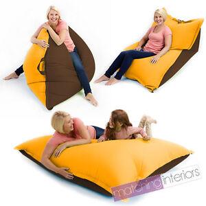 Yellow-Brown-Bean-Bag-Slab-XXL-Giant-Beanbag-Floor-Cushion-Adult-Indoor-Outdoor