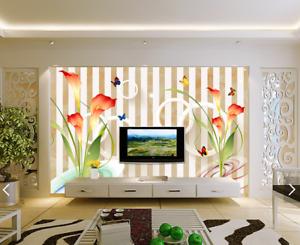 3D Stripeds Plants 8 Wall Paper Murals Wall Print Wall Wallpaper Mural AU Lemon