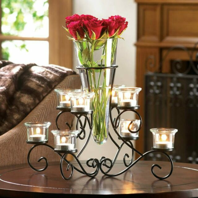 Black Iron Glass Vase Scroll Candle Holders Candelabra Floral Table Centerpiece