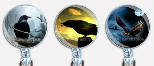 Halloween Badge Reel Retractable ID Name Card Holder Ravens Crows Birds Moon