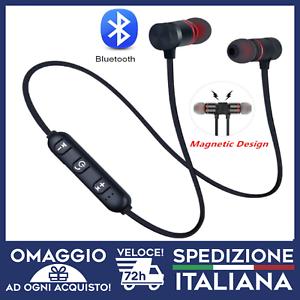 Dettagli su Auricolari Bluetooth calamita Sport Alto volume Bassi per Tutti gli smartphone
