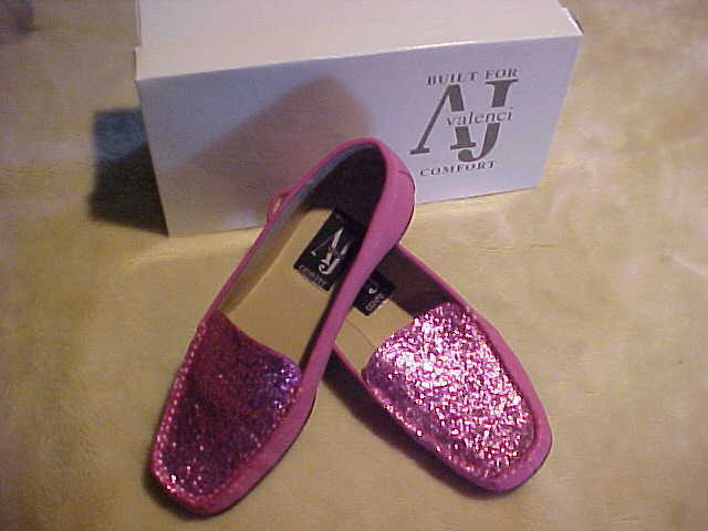 NEW DamenschuheS A J VALENCI SLIP ON  LOAFER WITH SEQUIN UPPER SIZE 7 W COLOR ROSE