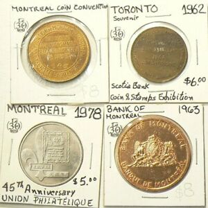 1962-to-1978-Canada-Coin-amp-Stamp-Show-Medals-Lot-of-4-Quebec-Ontario-4834