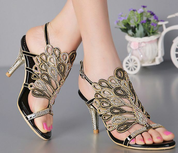 New New New Peacock Thick High Heel Platform Crystal Jeweled Evening Dress Sandal shoes f8b0cb