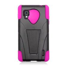 Sprint LG Optimus G LS970 Advanced KICK STAND Rubber Case Cover Black Hot Pink