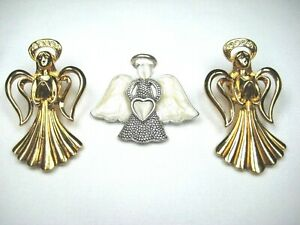 VINTAGE-JEWELRY-PINS-ANGELS-WITH-HALOS-TWO-GOLDTONE-WITH-CRYSTALS-ONE-SILVERTONE