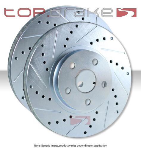 REAR TOPBRAKES Performance Cross Drilled Slotted Brake Disc Rotors TB53048
