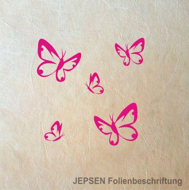 5 Butterfly Schmetterlinge im Set - Schmetterling Set S Wandtattoo Aufkleber