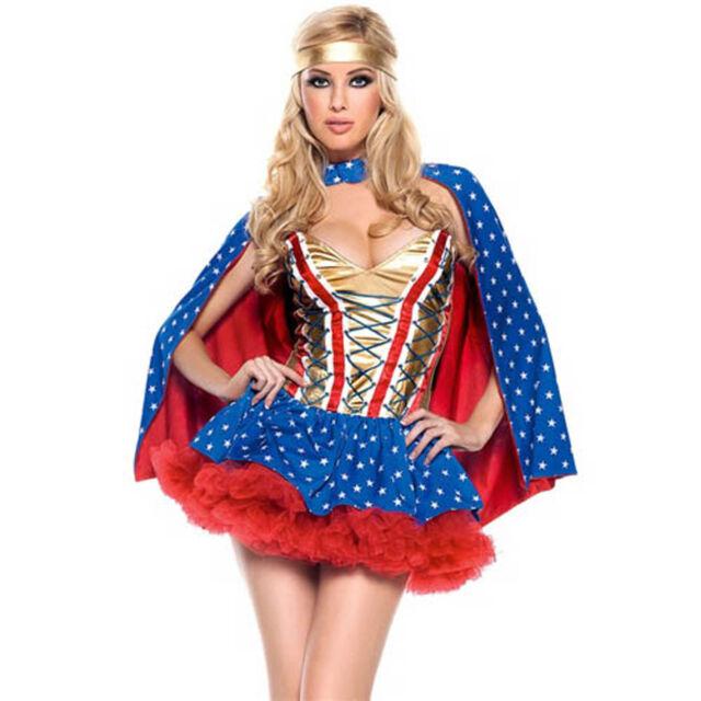 Superhero Movie Themed Womens Wonder Woman Wonder Girl Fancy Dress COSTUME