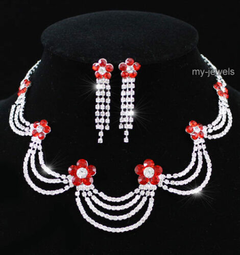 Hochzeit Halskette Ohrringe Rot Blume Schmuckset S1170