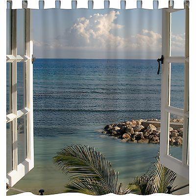 """Vorhang Motiv """"Fenster zum Paradies"""" Fotodruck versch. Maße, 1 o. 2-tg."""