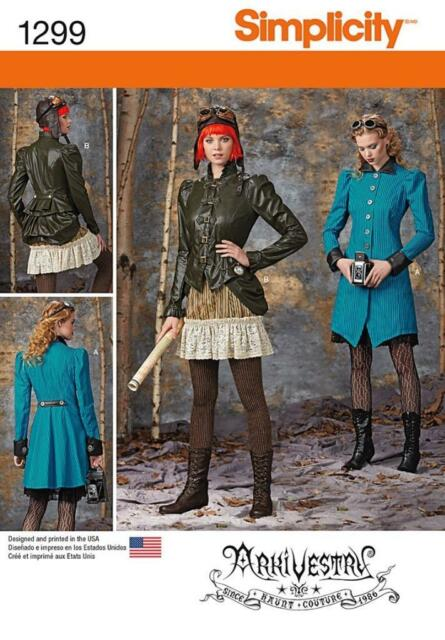 SIMPLICITY SEWING PATTERN Misses Costume Coat Jacket Bustle Ruffled Skirt  1299