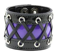 Purple Corset Lace Punk Cyber Goth Wrist Cuff Rockabilly Bracelet