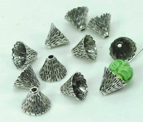 10 Antique Silver Pewter Cone Caps Beads 9x12mm