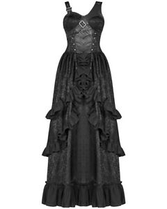 Punk Rave Gothic Steampunk Dress Long Black Brocade Faux Leather VTG Victorian