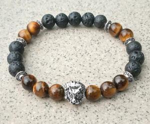 buddhism-Unisex-8mm-Tigereye-Volcanic-rocks-Golden-Lion-Bracelet-Meditation-mala