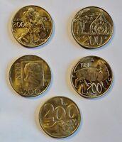San Marino - 5 verschiedene 200 Lire Münzen - alle von vz+ bis stgl / xf-unc
