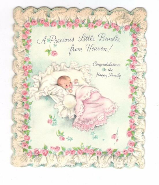 Vintage greeting card new baby congrats pink blanket ebay vintage hallmark new baby greeting card baby pink blanket 1950s m4hsunfo