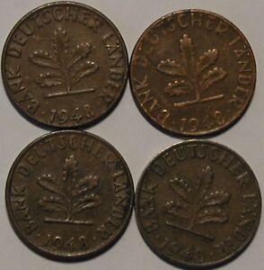 1 Pfennig 1948 D F G J Bank Deutscher Länder Kompletter Satz Ebay