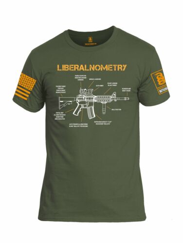 Battleraddle Liberalnometry V1 Orange Sleeve Print Mens Cotton Crew Neck T Shirt