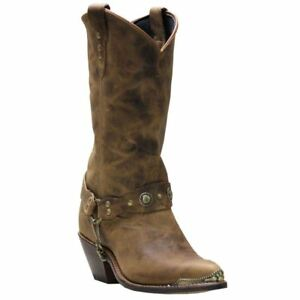 Sage-4528-Womens-Brown-Leather-Harness-Western-Boots