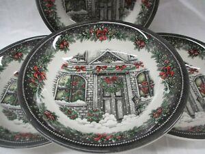Royal-Stafford-Christmas-Home-Soup-Cereal-Bowl-7-034-Set-of-Four-EUC-AL
