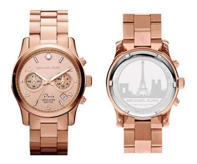 811c2579a290 Michael Kors Le Edition Rose Gold Stainless Runway Diamond Watch ...
