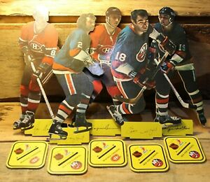 Vintage-1970-039-s-Lot-Of-5-NHL-Hockey-Hockey-Player-Montreal-New-York-Stand-Up-Card