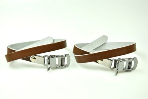 Brown New Atozi Bicycle Pedal Steel Toe Clip and Leather Straps Set LARGE