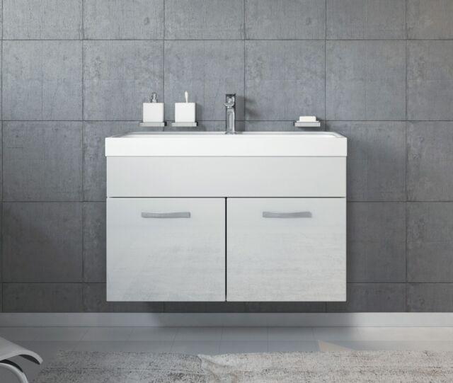 Meuble de salle de bain Paso 01 80x40cm lavabo Blanc brillant – Armoire de  range